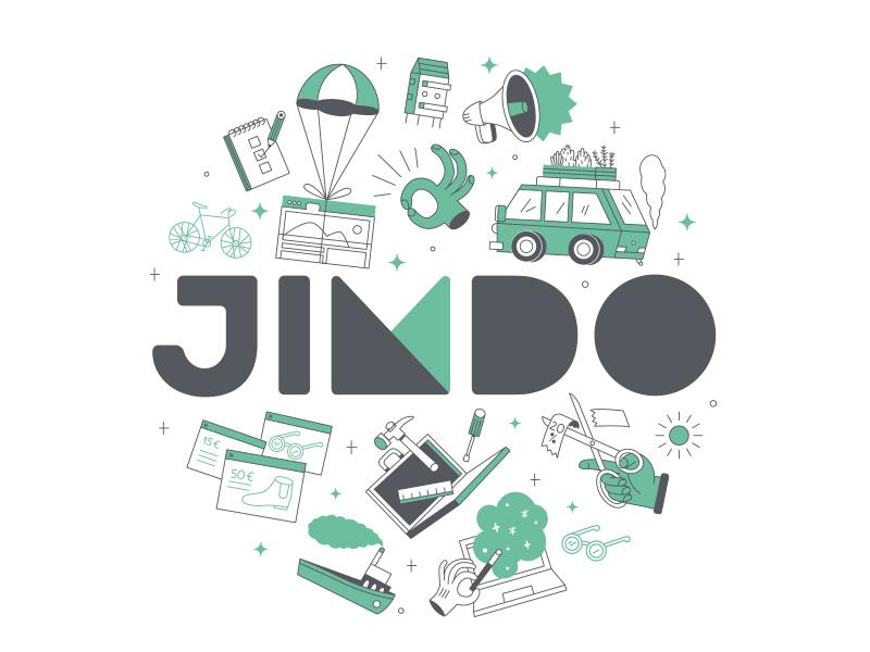 Jimdo Merchandise icons illustration web browser germany merchandise design coaster tote bad jimdo