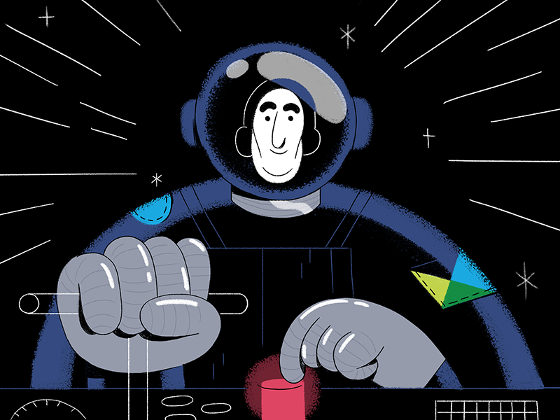 New Dashboard Features illustration button spaceship space astronaut jimdo dashboard