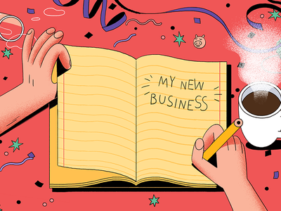 New Year's Resolution - Start your business coffee confetti business writing party silvester resolution year new notebook