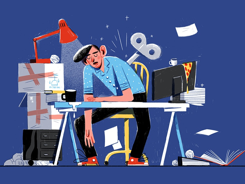Energy Zappers illustration blog jimdo pizza crank office burnout working over tired freelance