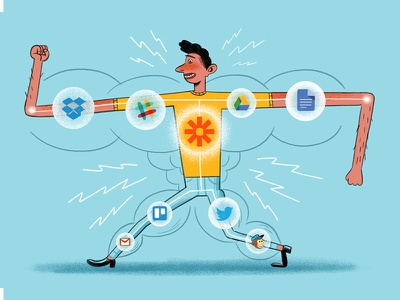 Automate Your Workflows & Be More Powerful gmail twitter dropbox slack trello mailchimp automation zapier powr muscle strong illustration