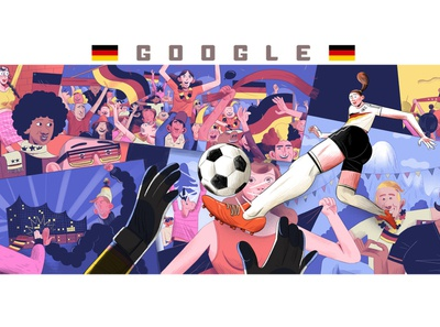 Google Doodle: FIFA's 2019 Women's World Cup adobe photoshop kick beer garden mountains high five cheering fans berlin bavaria hamburg fussball german national team germany illustraion womens soccer football soccer doodle google doodle google