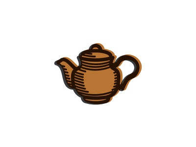 Tea Pot Thick Line Off Set line shading logo vector icon tea pot pot tea