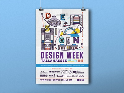 Design Week Tallahassee Poster line art poster tallahassee week design