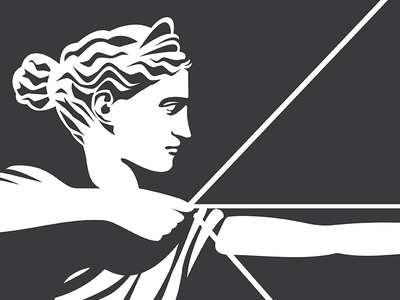 Classical Archer female woman mark logo classical one color archer vector