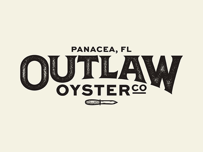 Outlaw Oyster Company branding brand outlaw knife texture oyster vector one color logo