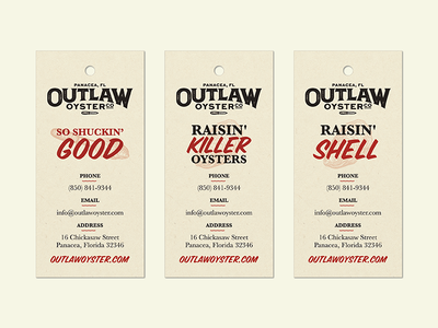 Outlaw Oyster Tags tags branding mark outlaw oyster knife brand