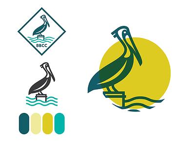 Some Branding Dev water coast waves branding circle pelican logo