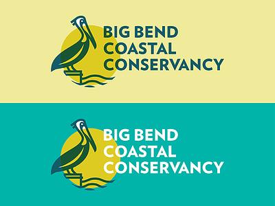 BBCC water coast waves branding circle pelican logo