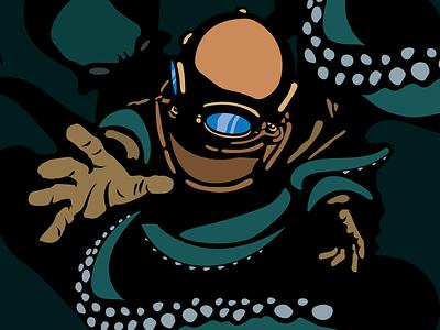 Beer Can Artwork #3 illustration vector ocean sea beer can kraken octopus diver
