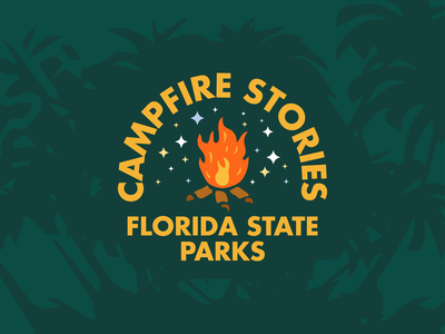 Campfire Stories parks park florida stars camping camp fire illustration illustator brand vector logo