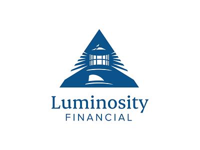 Luminosity Logo illustration clean financial lighthouse mark one color brand vector logo