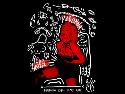 3a7bf9bab Madonna Rebel Heart Graphic Street Art Tour Tee by katie campbell ...