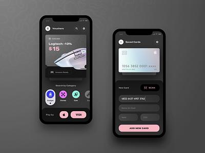 Voucher app apple visa ecommerce price off voucher iphonexs ios sketch ui ux app