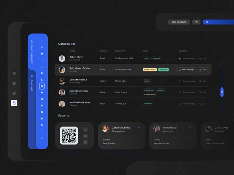 Calendar - the list of contacts - black version  ⚫️⚫️ ux dashboad black black and white app ui sketch