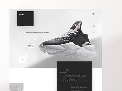Y-3 KAIWA  shop redesign - hero ecommerce shop sketch typogaphy black sneakerhead sneakers adidas redesign kaiwa y-3