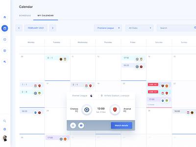 LineUp App - The matches schedule table calendar sketch objectivity design app dashboad football soccer app