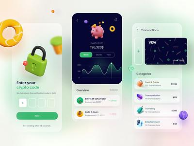 Fintech App Design 3d crypto banksterka banking money finance app
