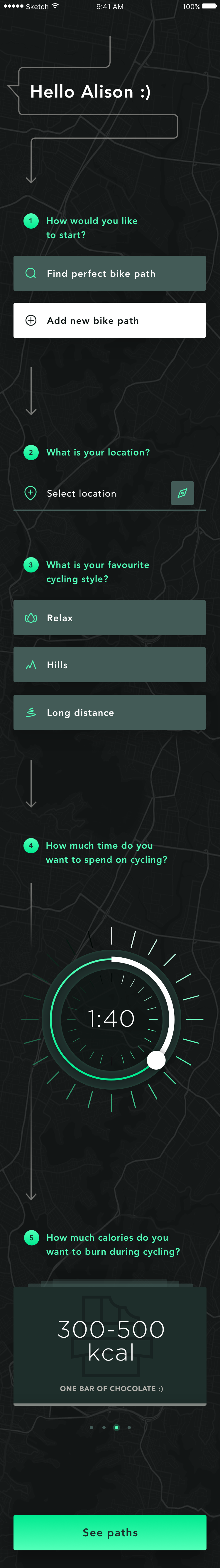 Cycling app path filters