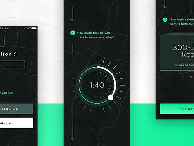 Bike App - new screens ux ui sketch principle design cycling cycle bike objectivity app