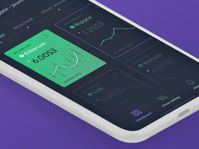 Cryptocurrency app dashboard - animation ui design typography branding objectivity dasboard ux  ui ux bitcoin mobile animation principle sketch iphonexs iphonex ios cryptocurrency crypto app