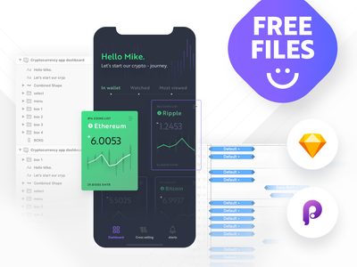 Cryptocurrency app dashboard - freebies gratis template ui template uiux iphonexs ios objectivity wallet crypto files sketch dashboard app iphonex iphoneography free app free freebies