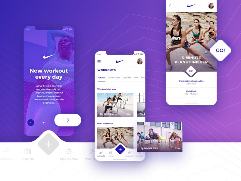 Nike Training App nike training workout iphonexs iphonex ios ux ui design app sketch