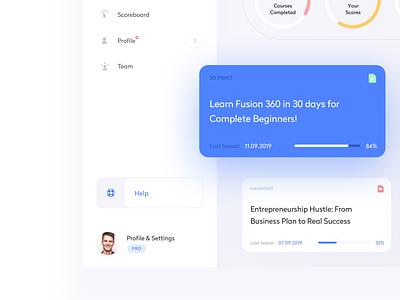 Platform for online learning dash dashboard app vector illustration objectivity ux ui design sketch