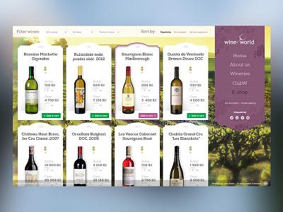 WineWorld - E-store webdesign products ui shop eshop commerce store food wine webdesign web