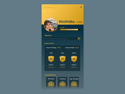 Daily UI #006 — User Profile game profile game ui user profile 006 dailyui