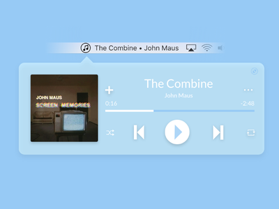 Daily UI #009 — Music Player ios widget 009 dailyui music player music blue