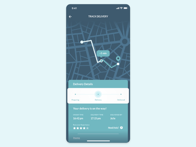 Daily UI #020 — Location Tracker 020 dailyui track map blue rate mobile delivery ui progress