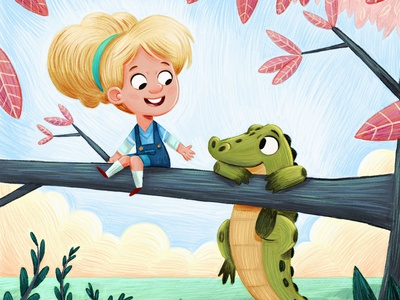Crocodiles can't climb trees, can they?! picture book artist art painting drawing clip studio paint pencil texture kids books illustrator design kid lit kidlit illustration childrens illustration childrens books