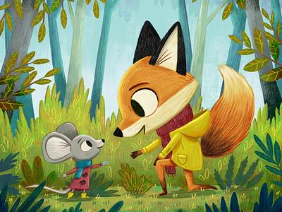 When Mouse meets Fox. procreate illustrator character design characterdesign animals storybook kidlitart picture book artist art kid lit kidlit illustration childrens illustration childrens books