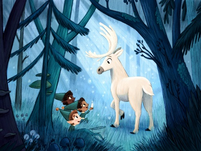 The Forest Guardian elves deer forest illustrator painting kidlitart picture book artist art kid lit kidlit illustration childrens illustration childrens books