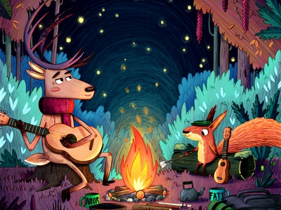 Stories, songs and marshmallows by the fire. book story picture book character design drawing painting story book kids childrens kidlitart kid lit art art kid lit kidlit illustration childrens illustration childrens books