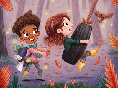 The Tire Swing book painting autumn woodland kids book storybook story character design kids children childrens picture book art kidlit kid lit illustration childrens illustration childrens books