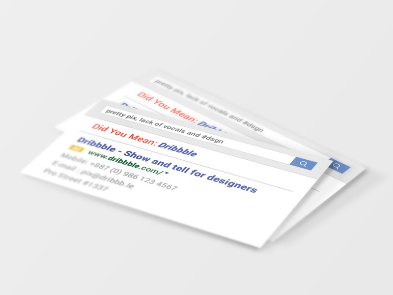 Google-ish Business Cards #freebie free source psd lol engine search google card business freebie