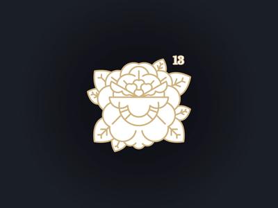 Thirteen illustration line pin tattoo flower