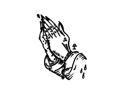 Lord's Prayer flash tattoo illustration praying hands