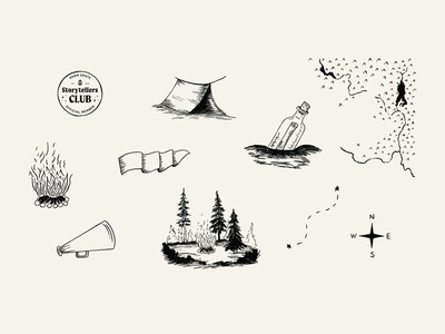 BC Storytellers Club spot illustrations elements camp club spot illustration