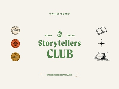 BC Storytellers Club branding storytelling club camp elements logo design logotype brand elements branding