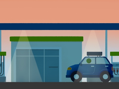 Air Quality Awareness Refuel air quality public service car sunset spot illustration evening gas station