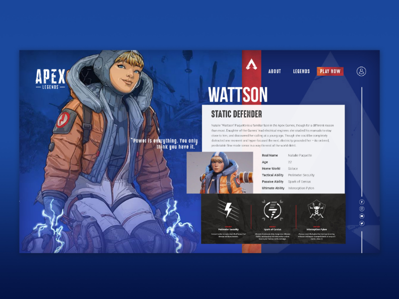 Wattson Apex Legends Character Page website design website layout apex legends website apex