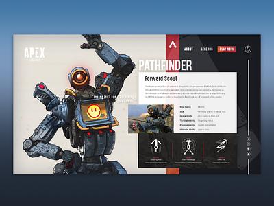 Pathfinder concept character page pathfinder website design apex legends apex page character website
