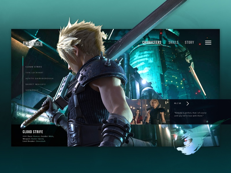 Final Fantasy VII - Cloud Concept Page ui design ui characters page design landing page concept page website page gaming cloud final fantasy 7 final fantasy ff7 flat design concept character branding website design website