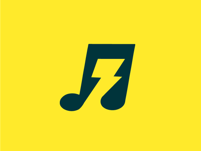 High voltage bolt electricity note negative voltage symbol identity mark brand logo music ray