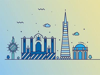 SF skyline  san francisco gloom summer design illustration