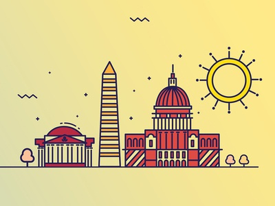 D.C skyline d.c washington shiny summer design illustration