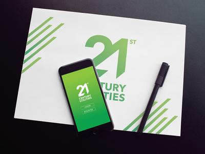 21st Century Utilities sustainability green modern typography logo branding logotype